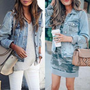 JOSIE🖤 distressed light denim jacket blue jean
